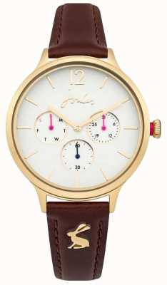 Joules Womens Darcy Brown Leather Strap White Dial JSL001TG