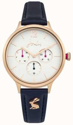 Joules Womens Darcy Blue Leather Strap White Dial JSL001URG