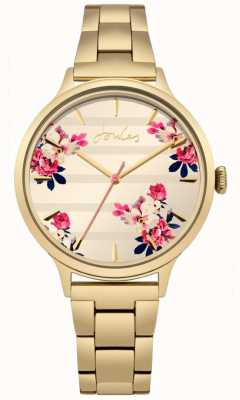 Joules Womens Flora Gold PVD Plated Bracelet Floral Dial JSL002GM