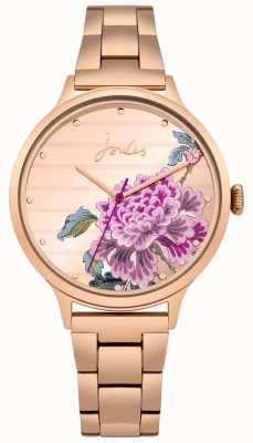 Joules Womens Flora Rose Gold PVD Bracelet Floral Dial JSL002RGM