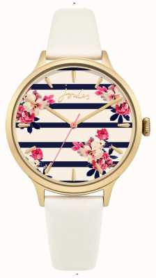 Joules Womens Cream Leather Strap Blue Stripe Flower Face JSL002WG