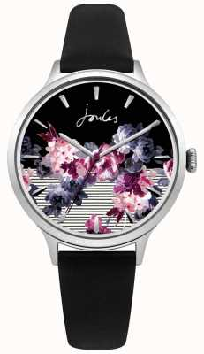 Joules Womens Joules Black Leather Strap Multi-colour Purple Dial JSL002B