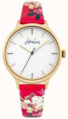 Joules Womens Joules Casey Floral Leather Strap White Dial JSL003PG