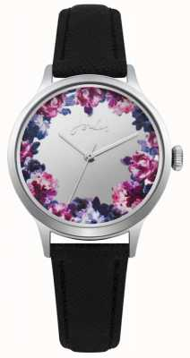 Joules Womens Joules Black Leather Strap Silver Floral Dial JSL005B