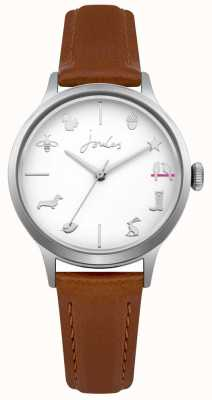 Joules Womens Joules Tan Leather Strap White Dial JSL011T