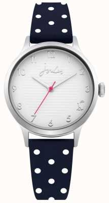 Joules Womens Navy Polka Dot Silicone Strap Silver Dial JSL009U