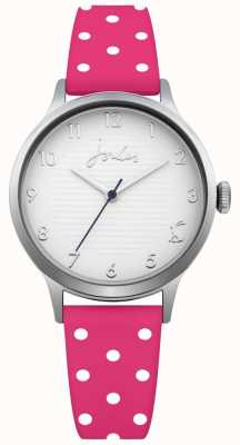 Joules Womens Pink Polka Dot Silicone Strap Silver Dial JSL009P