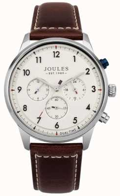 Joules Mens Brown Leather Strap Cream Chronograph Dial JSG007BR