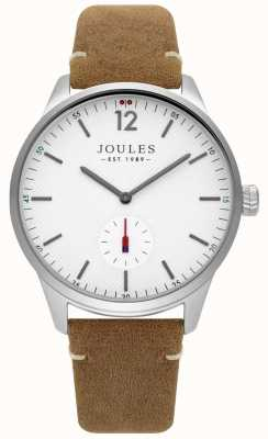 Joules Mens Tan Leather Strap Matte White Dial JSG005T