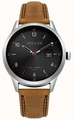 Joules Mens Sanderson Tan Leather Strap Black Dial JSG004T