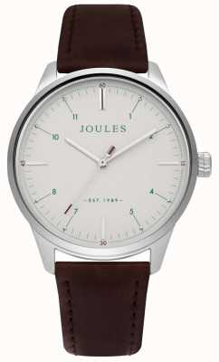 Joules Mens Brown Leather Strap Matte Cream Dial JSG002BR