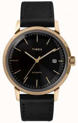 Timex Mens Automatic Black Leather Strap Black Dial TW2T22800