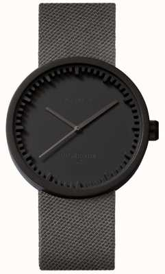 Leff Amsterdam Tube Watch D38 | Cordura Matte Black | Grey Strap LT71015