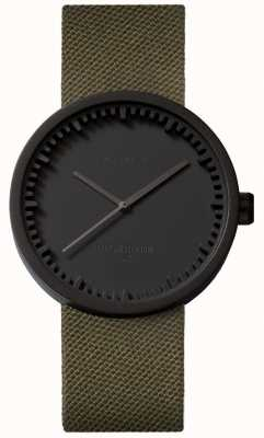 Leff Amsterdam Tube Watch D38 Cordura Matte Black case Green Strap LT71014