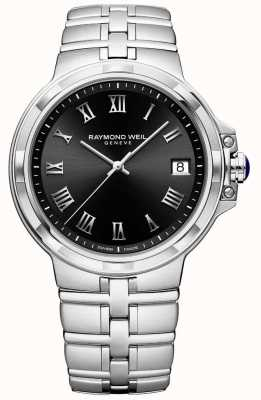 Raymond Weil Mens Parsifal Stainless Steel Bracelet Black Dial 5580-ST-00208