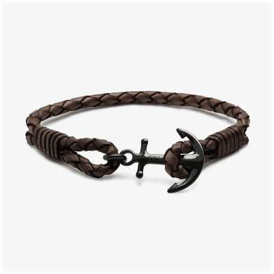Tom Hope Daytona Brown Leather Anchor Bracelet Medium TM0242