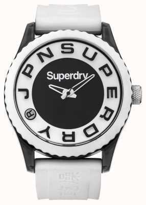 Superdry Urban | White Silicone Strap | Black and White Dial SYG145WA