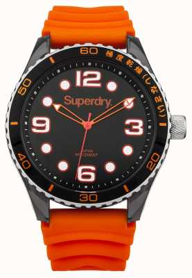 Superdry Orange Silicone Strap | Black Dial | White Markers SYG163OA