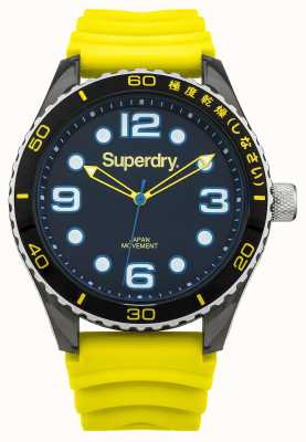 Superdry Yellow Silicone Strap | Black Dial | Blue Accents SYG163YA