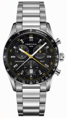 Certina Mens DS-2 | Precidrive Chronograph | Black/Yellow Dial C0244471105101