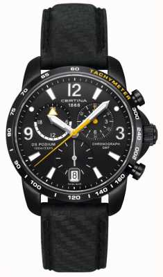 Certina Mens DS | Podium Chronograph | Black Dial | Black Leather C0016391605701