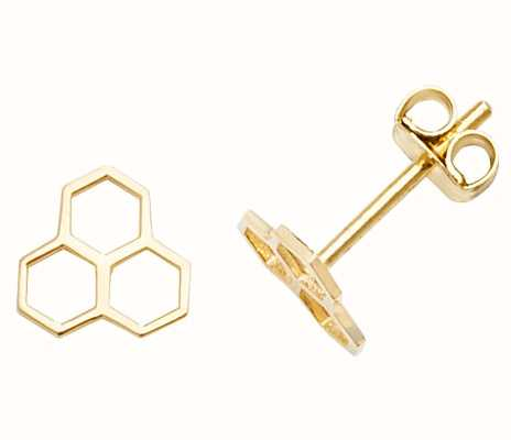 Treasure House 9k Yellow Gold Hive Stud Earrings ES610