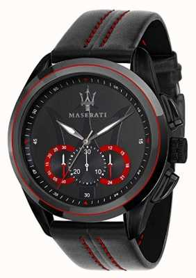Maserati Mens Traguardo Chronograph | Black Dial | Black Leather R8871612023