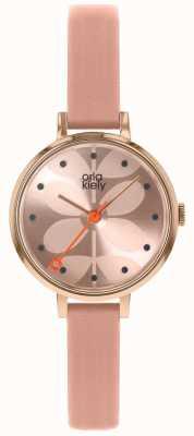 Orla Kiely | Ladies Ivy Watch | Pink Dial | Pink Leather Strap | OK2252