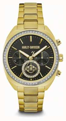 Harley Davidson Women's Crystal Set | Black Dial | Gold Stainless Steel 77M103