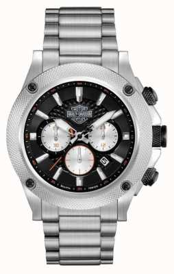 Harley Davidson Mens Chronograph | Black Dial | Silver Stainless Steel 78B126