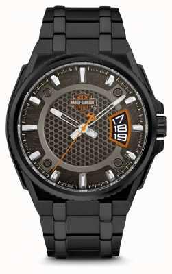 Harley Davidson Mens For Him | Black Dial | Black Stainless Steel Bracelet 78B151
