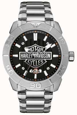 Harley Davidson Mens Stainless Steel Bracelet | Black Dial 76B169
