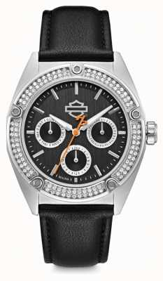 Harley Davidson Womens Crystal Set | Black Dial | Black Leather Strap 76N102