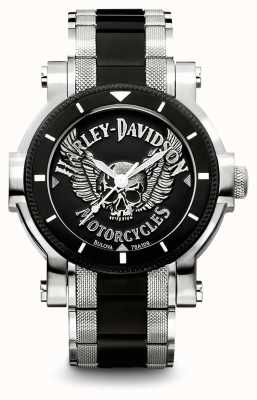 Harley Davidson Mens Two Tone Stainless Steel Bracelet | Black Dial 78A109