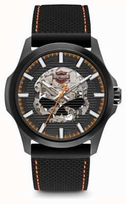 Harley Davidson Mens Willie G Skull | Black Dial | Black Silicone Strap 78A118