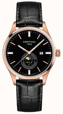 Certina Men's DS-8 | Black | Rose Gold | Moonphase Watch C0334573605100