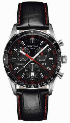 Certina Mens DS-2 | Chronograph | Black Dial | Black Leather Strap C0244471605103
