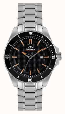 Rotary Mens Analogue | Stainless Steel Bracelet | Black Dial AGB00293/04