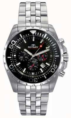 Rotary Mens Aquaspeed   Stainless Steel Bracelet   Black Dial AGB00013/C/04S