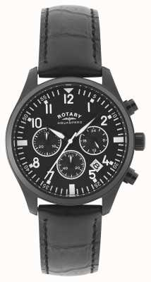 Rotary Mens Chronograph | Black Leather Strap | Black Dial GS00110/04