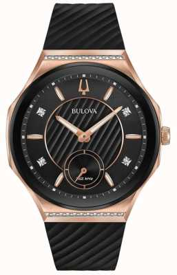 Bulova Women's Curv Rose Gold Plated Rubber Strap 98R239