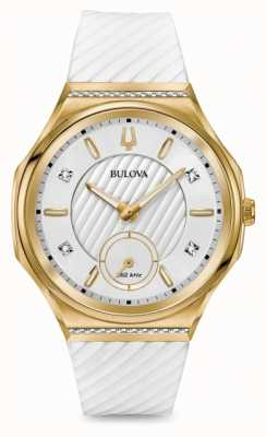 Bulova Women's Curv Diamond Set Gold Plated White Strap 98R237