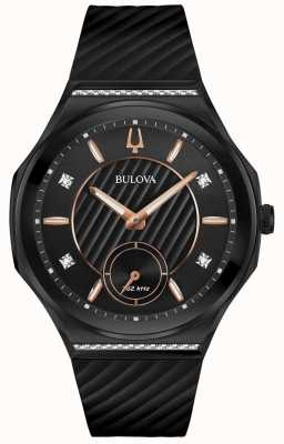 Bulova Women's Curv Diamond Set Black Rubber Strap 98R240