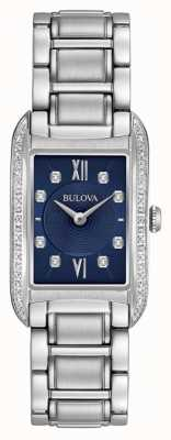 Bulova Women's Diamond Set Black Dial Stainless Steel Bracelet 96R211