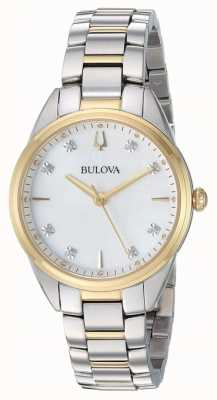 Bulova Women's Diamond Mother-of-pearl Two Tone Case 98P184
