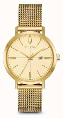 Bulova Women's Aerojet Classic Gold Plated Mesh Bracelet 97M115