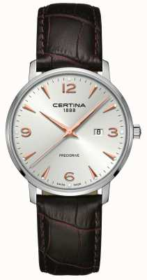 Certina Mens DS Caimano Brown Leather Strap Silver Dial C0354101603701