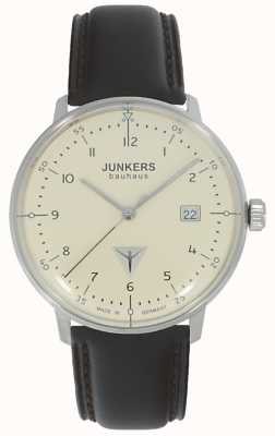 Junkers Bauhaus Cream Dial Brown Leather Strap Watch 6046-5