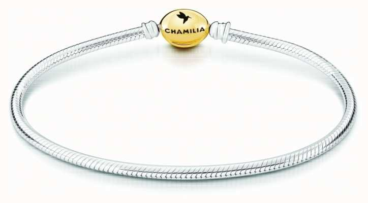 Chamilia Silver Oval Snap Bracelet | Gold Clamshell Clasp | 19.1 cm 1011-0009