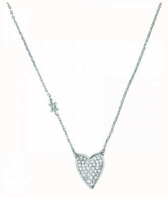 "Adore By Swarovski Pointed Heart Necklace 16-18"" Rhodium Plated 5303077"